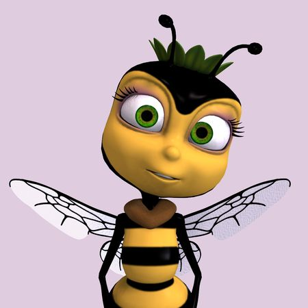 feeler: very sweet render of a honey bee in yellow and black with Clipping