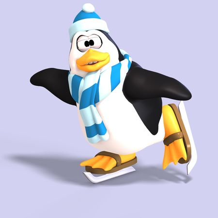 skidding: male toon enguin with hat and scraf and clipping