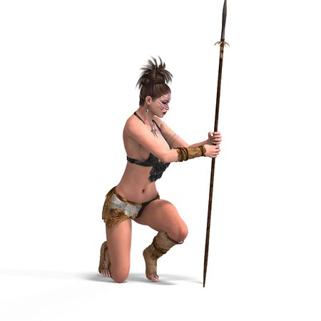 adoring: Female Fantasy Barbarian Fighter With Clipping