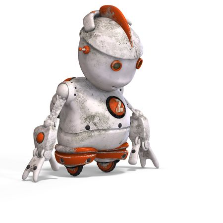 funny roboter with a lovely face and Clipping Stock Photo - 5006919