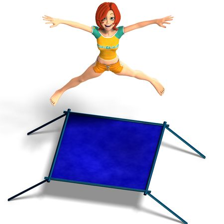 rendering of a cartoon girl who jumps on a trampoline. Stock Photo