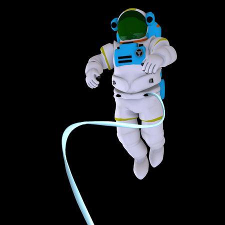 la prestaci�n de un astronauta sobre negro