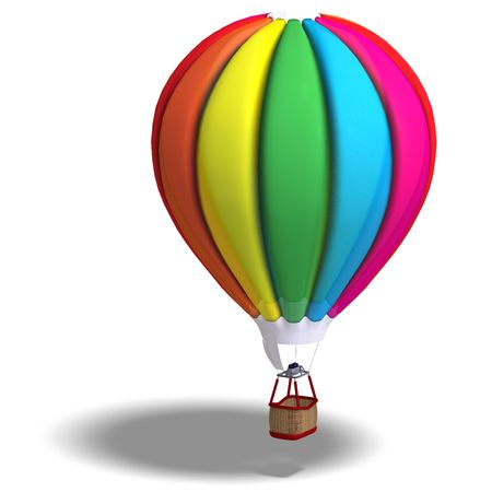 flotating: Rendering of a colorful balloon with Clipping and shadow over white Stock Photo