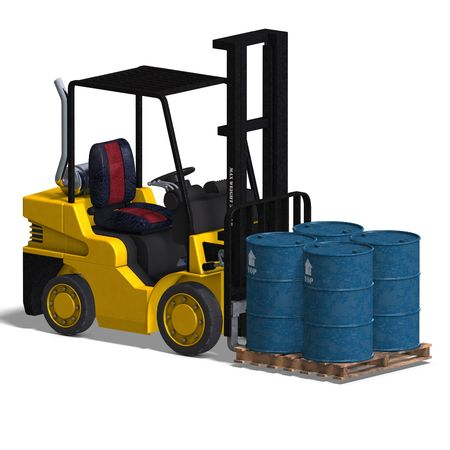 counterbalanced: rendering of a forklift over white Stock Photo
