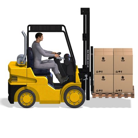 reach: rendering of a forklift with Clipping and shadow over white