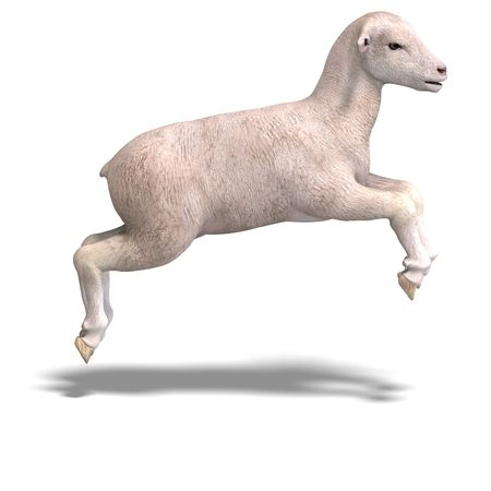 saltation: rendering of a young sheep with clipping and shadow over white Stock Photo