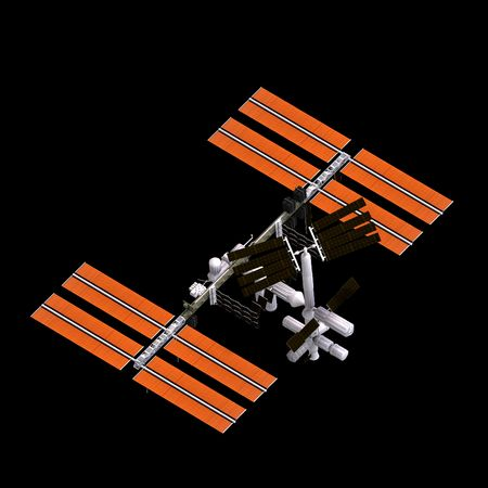 lonesome: rendering of a space station over black