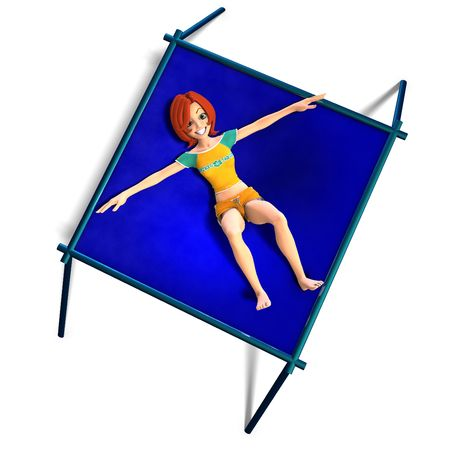 swoop: rendering of a cartoon girl who jumps on a trampoline. With Clipping and shadow over white Stock Photo