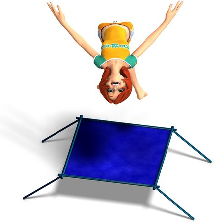 saltation: rendering of a cartoon girl who jumps on a trampoline. With Clipping and shadow over white Stock Photo
