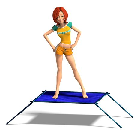 rendering of a cartoon girl who jumps on a trampoline. With Clipping and shadow over white Stock Photo