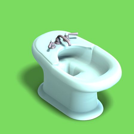 bidet: 3d rendering of a white bidet with Clipping and shadow