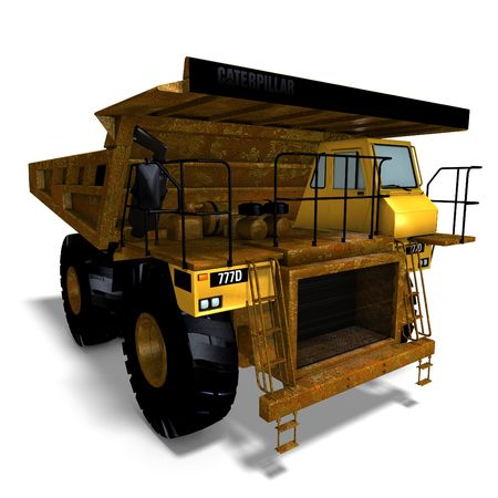 building lot: rendering of a heavy dumper with Clipping and shadow over white Stock Photo