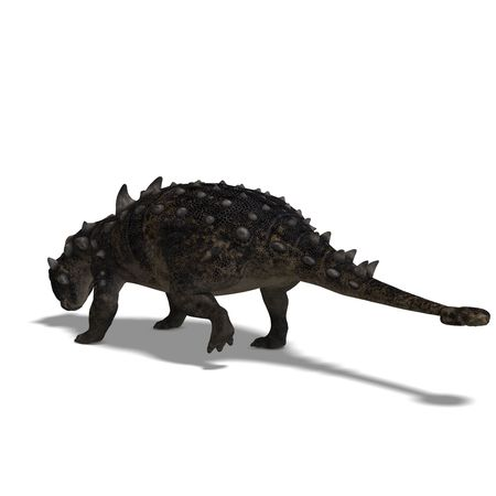 devour: 3D Render of the dinosaur Euoplocephalus With Clipping over white Stock Photo