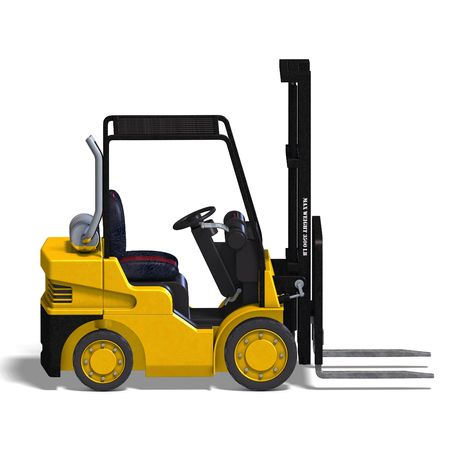 lift trucks: rendering of a forklift with Clipping and shadow over white