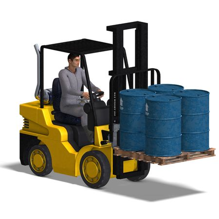 counterbalanced: rendering of a forklift with Clipping and shadow over white