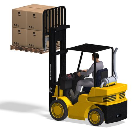 rendering of a forklift with Clipping and shadow over white