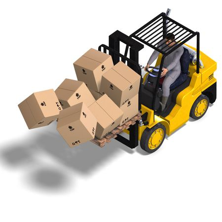 service lift: rendering of an accident with a forklift. With Clipping and shadow over white