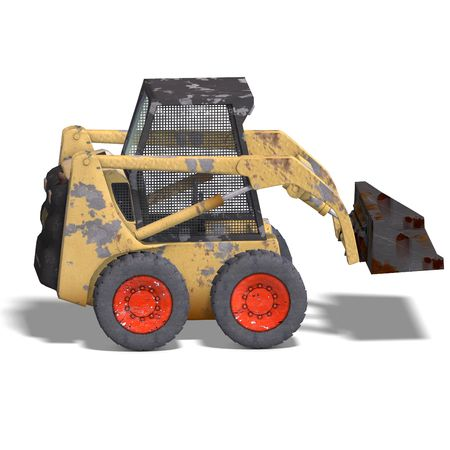 graft: rendering of a skidloader with Clipping and shadow over white Stock Photo