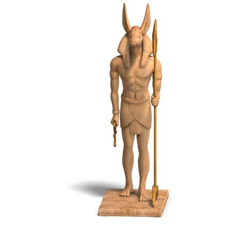 sceptre: rendering of anubis statue With Clipping and shadow over white Stock Photo