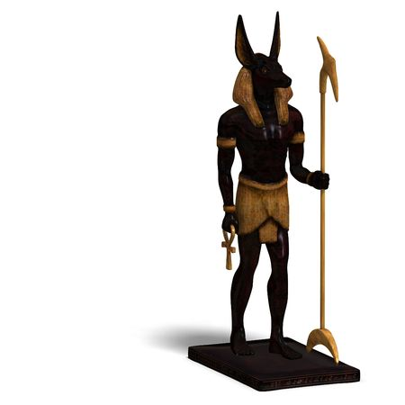treasure trove: rendering of anubis statue With Clipping and shadow over white Stock Photo