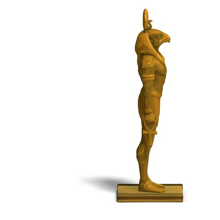 horus: rendering of eygptian god horus statue with Clipping and shadow over white