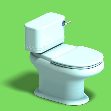 drainage: 3D rendering of a white wc with shadow and clipping over white Stock Photo