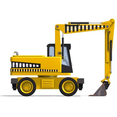 graft: rendering of a wheel excavator with Clipping and shadow over white