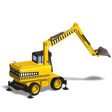 building lot: rendering of a wheel excavator with Clipping and shadow over white