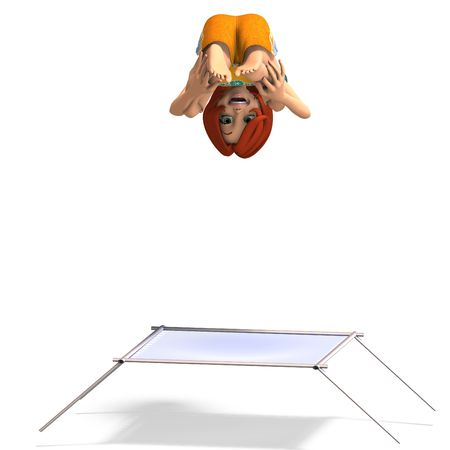 rendering of a cartoon girl who jumps on a trampoline. With Clipping and shadow over white photo