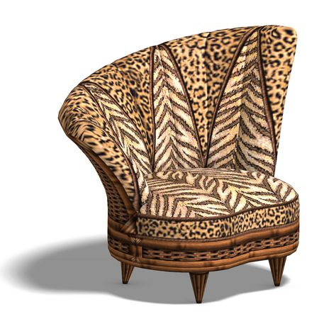 cushy: cushy sofa with animal design. 3D render with clipping and shadow over white