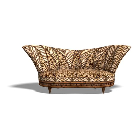 cushy: comfy large chair with animal print design. 3D render with clipping and shadow over white Stock Photo