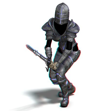 braver: This is an anaglyph image  stereo rendering of a female knight with sword. The 3d effect however is only visible with red-cyan-specs (redblue-googles)