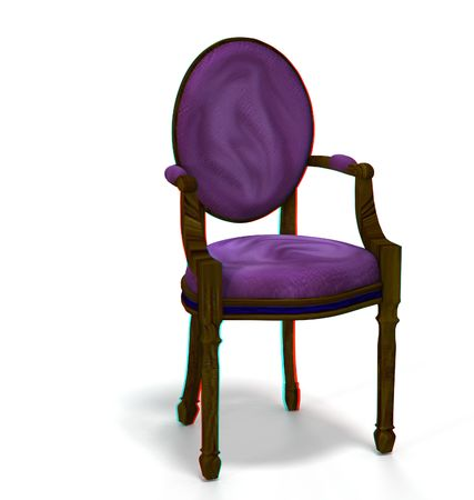 however: This is an anaglyph image  stereo rendering of a chair. The 3d effect however is only visible with red-cyan-specs (redblue-googles)