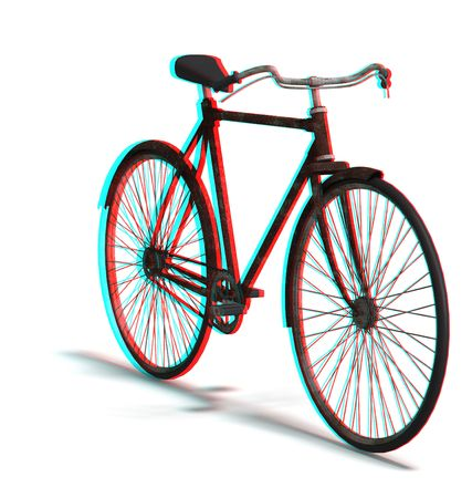 however: This is an anaglyph image  stereo rendering of an old bike. The 3d effect however is only visible with red-cyan-specs (redblue-googles) Stock Photo