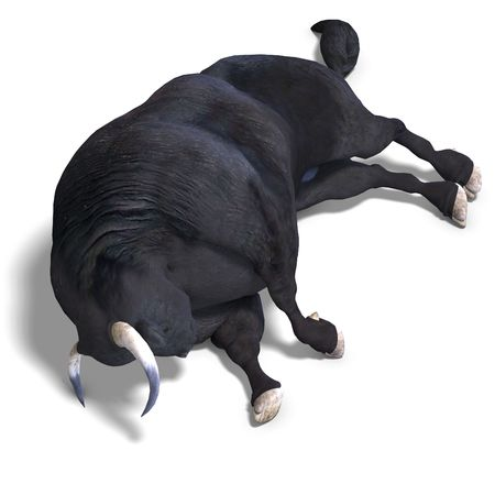 dangerous bull with beaked horns. 3D render with clipping and shadow over white photo