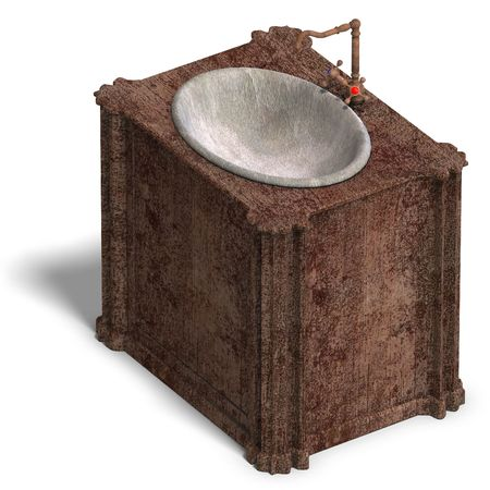 3D rendering of a old and dirty washstand with Clipping and shadow over white