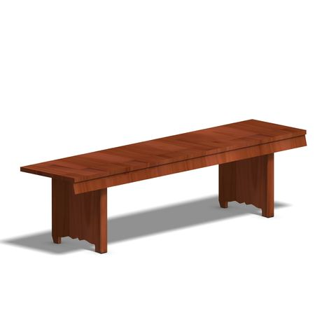ebony: wooden park bench. 3D render with clipping and shadow over white