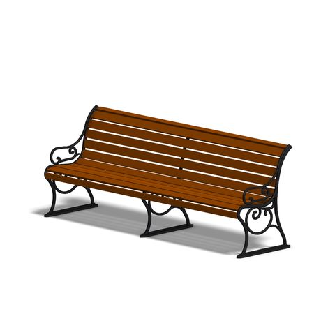 repose: wooden park bench. 3D render with clipping and shadow over white