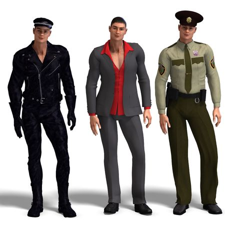 motor officer: same man in three different costumes: Biker, Dressman, Policeman. MixnMatch. With clipping and shadow over white