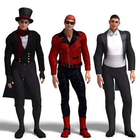 stovepipe hat: same man in three different costumes: Biker, Dandy, Tux. MixnMatch. With clipping and shadow over white