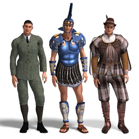 spotter: same man in three different costumes: Gent, Roman, Romeo. MixnMatch. With clipping and shadow over white Stock Photo