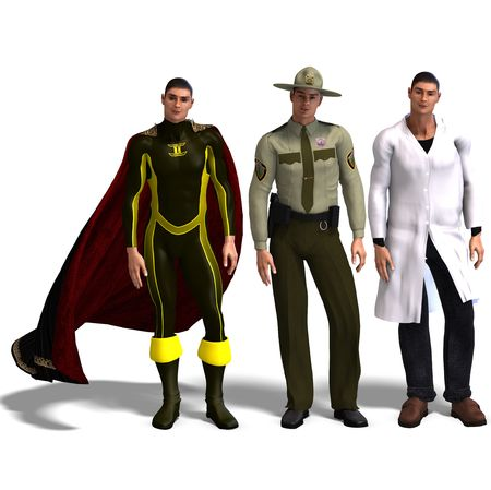 braver: same man in three different costumes: Hero, Policeman, Doctor. MixnMatch. With clipping and shadow over white