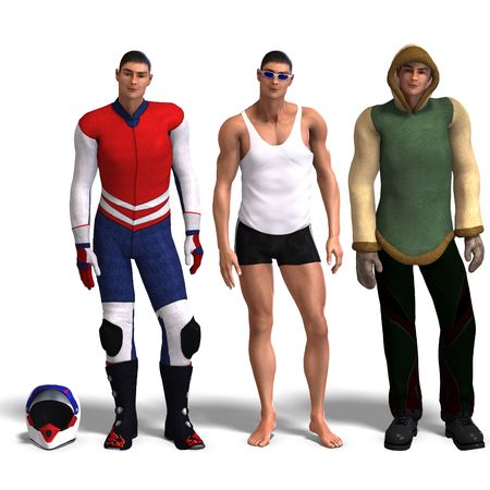 beefy: same man in three different costumes: Racer, Sport, Winter. MixnMatch. With clipping and shadow over white