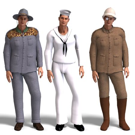 spotter: same man in three different costumes: Adventurer, Sailor, Explorer. MixnMatch. With clipping and shadow over white