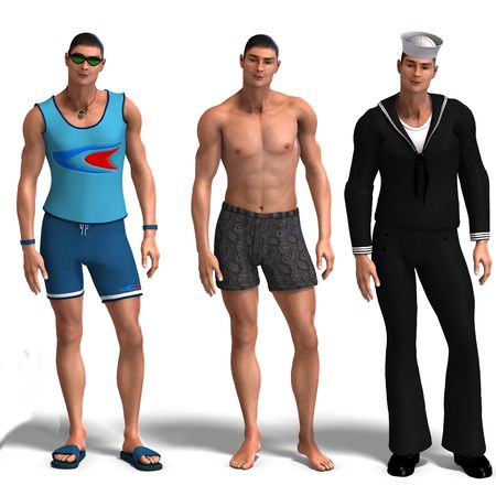beefy: same man in three different costumes: Surfer, Underwear, Sailor. MixnMatch. With clipping and shadow over white Stock Photo