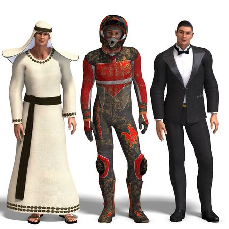 beefy: same man in three different costumes: Beduin, Racer, Tux. MixnMatch. With clipping and shadow over white Stock Photo