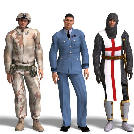 mediaeval: same man in three different costumes: Soldier, Air Force, Knight. MixnMatch. With clipping and shadow over white