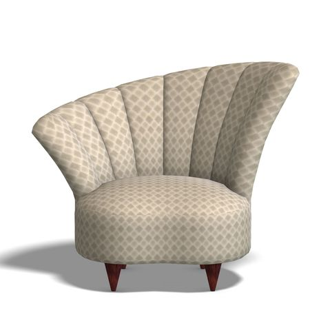 cushy: a modern comfy seat. 3D render with clipping and shadow over white