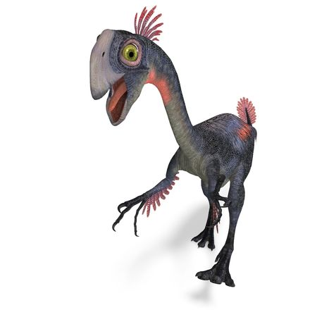 assail: dangerous dinosaur gigantoraptor. 3D render with clipping and shadow over white