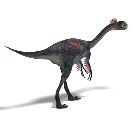 enormous: dangerous dinosaur gigantoraptor. 3D render with clipping and shadow over white